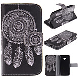 White Dreamcatcher Pattern PU Leather Full Body Case with Stand and Protective Film for Motorola Moto E2