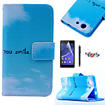 KARZEA™Blue Sky Cloud Pattern PU Leather Case with Screen Protector and Stylus and Dust Plug for Sony Xperia Z3mini