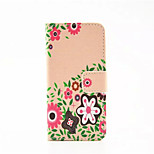 Cartoon Flower  Pattern PU Leather Phone Case For iPhone 5/5S
