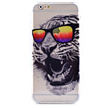 Bespectacled Tiger Pattern Painted Slim TPU Material Phone Case for iPhone 6