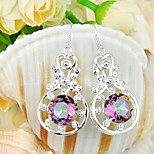 Newest Gift Round Fire Rainbow Mystic Topaz Gem 925 Silver Drop Earrings For Wedding Party Daily Holiday 1Pairs