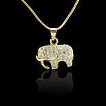 18K Real Golden Plated Three-Dimensional Elephants Zircon Micro-Inclosed Pendant 1.7*2CM
