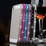 strass multicolor telaio piano in metallo + cassa del telefono TPU per il iPhone 5 / 5s (colori assortiti)