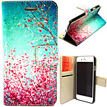 Beautiful Peach Blossom Pattern with Card Bag Full Body Case for iPhone 6