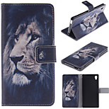 The Lion Face Design PU Leather Stand Case with Card Slot for Sony M4