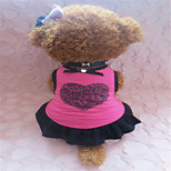 Holdhoney Rose And Black Edge With Heart-Shaped Cotton Vest Dresses For Pets Dogs (Assorted Sizes) #LT15050107