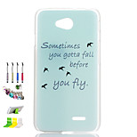 Asuka Pattern Transparent Frosted PC Phone Shell and Dust Plug Stylus Pen Stand Combination for LG L90