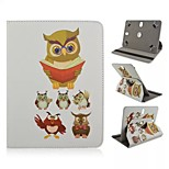 Owl Pattern Magnetic Flip Stand Universal PU Leather Case with Elastic Belt for 7 Inch Tablet PC