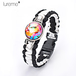 Lureme®Europestyle Brief Black Intertwine  White Weave Parachute Cord Dream Starry Sky Time Gem Alloy Bracelet