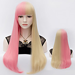 Harajuku Fashion Two Tone Synthetic Wigs Pink Mix Blonde Straight Full Hair Wig