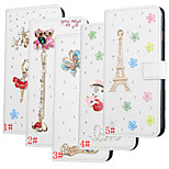Diamonds Bling Flower PU Leather Flip Cover Wallet Card Slot Case with Stand for iPhone 6 (Assorted Colors)