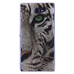 COCO FUN® White Tiger Pattern Soft TPU IMD Back Case Cover for Sony Xperia M2 S50h