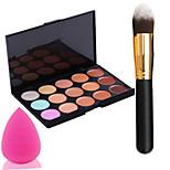 Pro Party 15 Colors Contour Face Cream Makeup Concealer Palette + Powder Brush+Power Puff