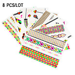 8 PCS Fluorescent Color Tattoos Stickers  for Body Makeup W322-329