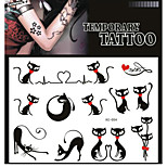 Tattoo Stickers Non Toxic/Pattern/Lower Back/Waterproof Animal Series Adult Black Paper 1 17*16 Cat