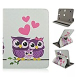Owl Pattern 360 Rotation Magnetic Flip Stand Universal PU Leather Case with Elastic Belt for 10 Inch Tablet PC
