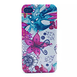 Flower  Pattern Transparent Frosted PC Back Cover For  iPhone 4/4S