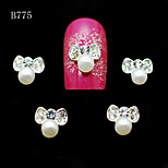 B775 10pcs/lot Beauty Beige Pearls Bow Shape Charm Strip Crystal 3D Alloy Metal Nail Art Tips Glitter Nail Phone Tools