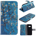 Apricot Blossom Design PU Leather Stand Case with Card Slot for HTC One M8 Mini