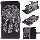 White Dreamcatcher Pattern PU Leather Full Body Case with Stand and Protective Film for Sony M4