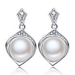 Z&X® 925 Silver Plated Elegant Water Pearl/Rhinestone Drop Earrings Wedding/Party/Daily