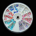 W113 60pcs/Set Beauty Heart Shape AB Mix Color Resin Rhinestones Diamond Nail Art Phone Princess Girls Dress