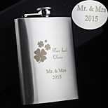 Personalized Gift 8oz Four Lucky Clover Design Stainless Steel Flask