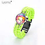 Lureme®Europestyle Brief Yellow Weave Parachute Cord Dream Starry Sky Time Gem  Alloy Bracelet