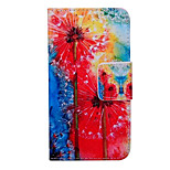 Red Dandelion Pattern Quality PU Material  Leather for Nokia 640