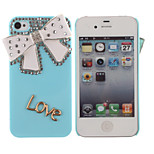 Drill Bowknot Pattern Hard Back Case for iPhone 4/4S(Assorted Colors)