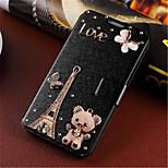 삼성 갤럭시 A3에 대한 새로운 패션 3D 꽃 블링 다이아몬드 플립 커버 PU 가죽 케이스 권총 (모듬 된 색상)