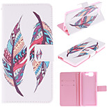 Colored Feather Patterns PU Leather Full Body Case with Stand and Protective Film for Wiko Highway