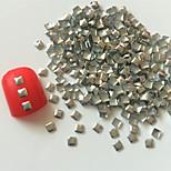 200PCS 3D Silver Square Alloy Nail Art Golden&Silver Decorations