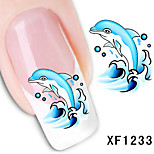 5Pcs Fashion Lovely  Dolphin Pattern 3D Nail Stickers
