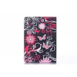 Black Background Pink Butterfly PU Leather Full Body TPU Case with Card Holder for Ipad Air 2/Ipad 6