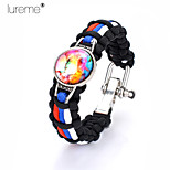 Lureme®  Europestyle Brief Black Intertwine Red Blue White Weave Parachute Cord Time Gem Adjustable Hasp Alloy Bracelet