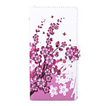 Peach Blossom Pattern PU Leather Full Body Case with Stand and Card Slot for Sony Xperia C4
