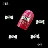 015 DIY 10pcs/lot 3D Silver Nail Art Metal Alloy Bow Shape Rhinestones Women Nail Art Decoration Accessories