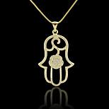 18K Real Golden Plated Allah Muslim Islamic Zircon Micro-Inclosed Hamsa Hand Of Fatima Pendant
