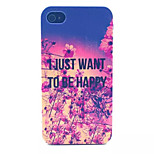 Just happy Pattern Transparent Frosted PC Back Cover For  iPhone 4/4S