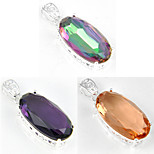 Holiday Oval Fire Rainbow Mystic Topaz Morganite Amethyst Gem 925 Silver Pendants for Necklaces For Wedding Party 1pc