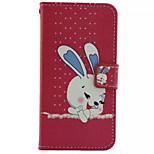 Rabbit Pattern PU Leather Phone Case for iPhone5/5S