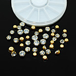 W104 1pcs Round Wheel Tips Accessories 3D Nail Art Golden Metal Rhinestones Beauty Nail Sticker Nail Rhinestones Decor