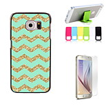 Golden Stripe Design Hard Case with Screen Protector and Stand Holder for Samsung Galaxy S6