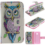 Personality Owls PU Leather Full Body Case with Stand and Protective Film for Motorola Moto E2