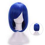 32 Cm Harajuku Cosplay Anime Wig Young Heat Resistant Synthetic Hair Dark Blue Wig Party Synthetic Wigs With Bangs
