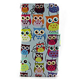 Cartoon Owl Pattern PU Leather Phone Case for iPhone5/5S