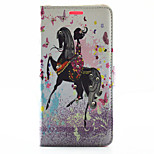 Horse Riding Girl Pattern Rhinestone Quality PU Material Case for LG G4