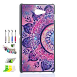 Purple Flower Half Pattern Black Matte  PC Material Phone Case And Dust Plug Stylus Pen Stand Combination for Sony M2