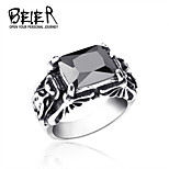 Beier® Double Dragon Side Black/White Stone Ring for Man and Woman Stainless Steel Jewelry
